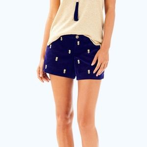Lilly Pulitzer Adie Shorts Blue Gold Pineapple